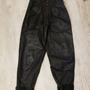 Pants - Vintage black leather pants. Paper bag waist.